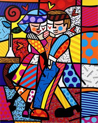 Joue contre Joue - oeuvre de Romero Britto en vente auprès du Stand 36 de Deodato Arte à la GRANDART Milan
